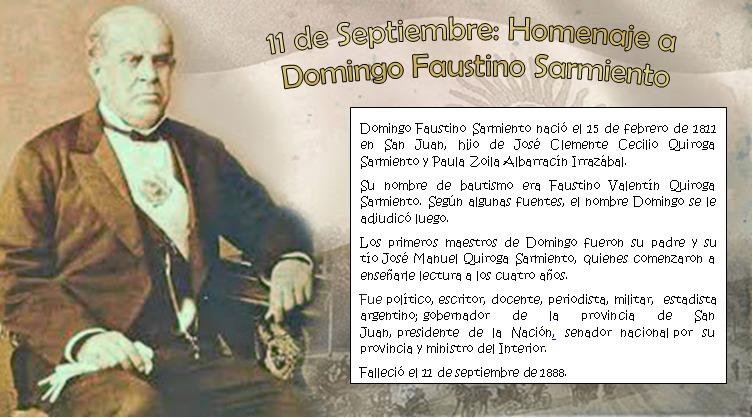 Cada 11 de septiembre en Argentina homenajeamos a los maestros recordando al gran maestro Domingo Faustino Sarmiento